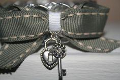 Tan Striped Soda Tab Bracelet W/ Heart Lock & Key Charms