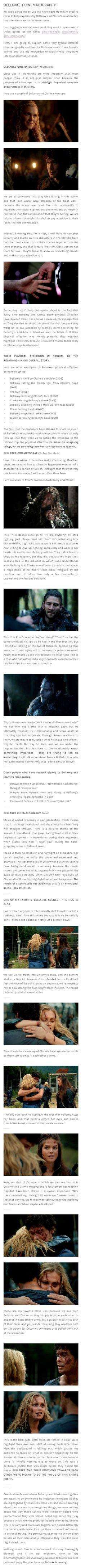selflessbellamy: Bellarke + Cinematography