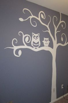 Owl mural I painted for the nursery.