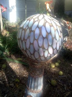 Tiled Bowling ball turned Garden sculpture