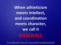 """Baseball Quote – """"When athleticism meets intellect…"""" Check out our website for… – Sport is lifre Baseball Tips, Baseball Quotes, Baseball Pictures, Soccer Tips, Baseball Pants, Sports Baseball, Baseball Mom, Softball, Baseball Stuff"""