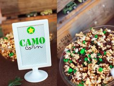 Nicole/Livi would be cute to mix caramel corn and reese's pieces candy for orange camo look!