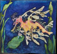 """""""My Kind of Dragon"""" (leafy sea dragon) by Patt L Blair. place ribbon, 2012 Road to California. Ocean Quilt, Fish Quilt, Leafy Sea Dragon, Animal Quilts, Longarm Quilting, Quilting Tips, Fabric Art, Pet Birds, Amazing Art"""