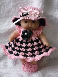 Crochet pattern for Berenguer 5 inch baby doll dress set handmade Crochet pattern for Berenguer 5 inch baby doll von petitedolls Baby Girl Dress Patterns, Doll Dress Patterns, Baby Clothes Patterns, Crochet Doll Dress, Crochet Doll Clothes, Knitted Dolls, Bitty Baby Clothes, Crotchet Patterns, Little Doll