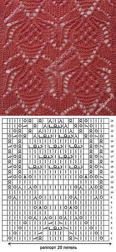 Узор: японские ананасы   каталог вязаных спицами узоров
