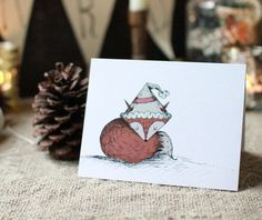 Holiday Cards  Snuggle Fox by JoyAndNoelle
