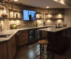 Narrow Basement Ideas, Basement Bar Plans, Open Basement, Basement Bar Designs, Home Bar Designs, Basement House, Basement Makeover, Basement Kitchen, Basement Renovations