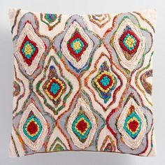 One of my favorite discoveries at WorldMarket.com: Sari Embroidered Chambray Throw Pillow
