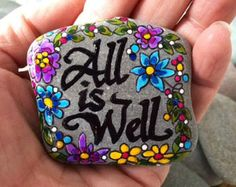Painted rock /All is well / amen / safe / Sandi Pike Foundas / art rocks / sea stone from Cape Cod