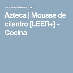 Azteca | Mousse de cilantro [LEER+] - Cocina