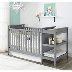 The simple, clean lines of this unique crib are beautifully offset by the light wood finish. The raised crib side panels add visual interest, and the beautiful grey finish allows you to coordinate with multiple bedding and decor options.