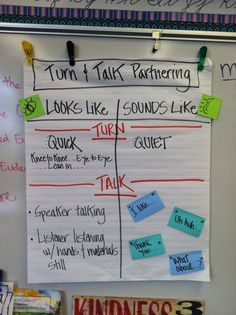 Anchor chart--turn and talk