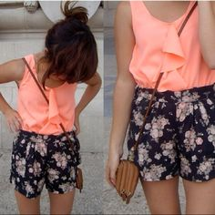 Floral shorts.. Cute summer outfit.