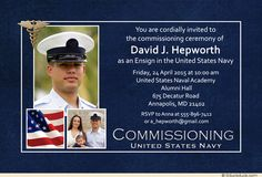 Navy Ensign Three Photo Commissioning Invitation (Optional Medical Graphic)