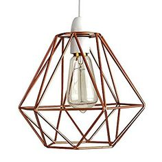 Modern industrial caged metal ceiling pendant light shade vintage retro style copper metal basket cage ceiling pendant light shade amazon uk greentooth Gallery