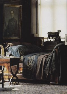 Ralph Lauren Home Collection-1984-Bruce Weber The Art of the Room. I LOVE a dark, masculine room. So cozy, to me.