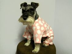 Custom Fleece Pink with White Polka Dots Dog Pajamas Long Johns Jumpsuit. $24.00, via Etsy.