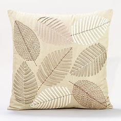 Neutral Tones Scattered Leaves Toss Pillows, world market