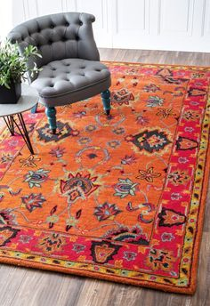 A nuLOOM Elegance Sevilla orange area rug can bring a room to life. Use a rug to inspire your palette for a room. | Wayfair