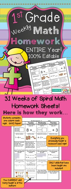 ENTIRE YEAR of 1st Grade Common Core Spiral Math Homework! 100% Editable - with Answer Keys!!! $