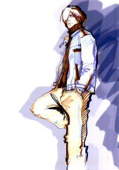 Repinned for final illustration - Men's Fashion Illustration by Alena Lavdovskaya