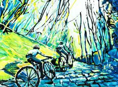 Up the cobbles - for enduring cyclists. Print A4 from £30