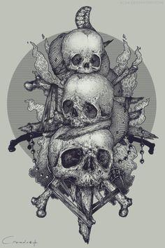 Artist: More creepy art Tattoo Sketches, Tattoo Drawings, Art Drawings, Skull Tattoos, Body Art Tattoos, Satanic Art, Skull Pictures, Macabre Art, Creepy Art