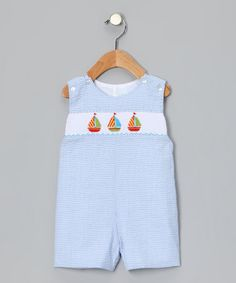 Take a look at this Blue Sailboat Seersucker Smocked John Johns - Infant & Toddler  by Petite Palace on #zulily today!