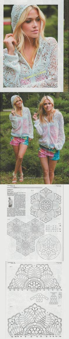 A Céu aberto malha Jaqueta Crochê. / ВЯЖЕМ КРЮЧКОМ АЖУРНУЮ КУРТКУ. / Openwork Knit Crochet Jacket.