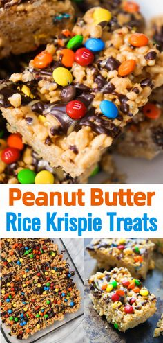 Peanut Butter Rice Krispie Treats are an easy dessert the whole family will love. These Rice Krispie Squares are loaded with peanut butter and M&Ms. Peanut Butter Rice Krispies, Peanut Butter Chocolate Bars, Peanut Butter Desserts, Peanut Butter M&ms, Peanut Butter Squares, Peanut M&ms, Rice Recipes For Dinner, Dessert Recipes, Fudge Recipes