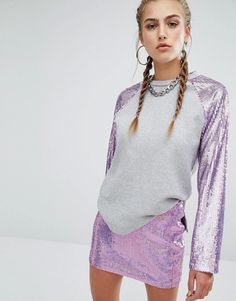 Jaded London | Jaded London - Felpa raglan con paillettes a sirena sulle maniche in coordinato