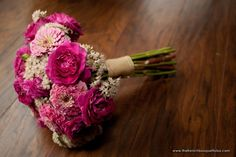 Beautiful Organic Pink Bouquet of Roses, Zinnias and Sedum - Petite Fleur - Artworks Tulsa Photography