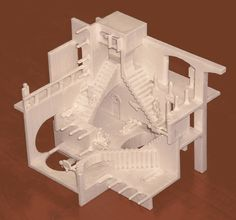 Gershon Elber uses a 3d printer to make accurate models of MC Escher 's famously bizarre optical illusions