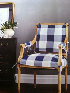 Love this big gingham print! I am looking for new cushion covers for two chairs and this is def. an idea.