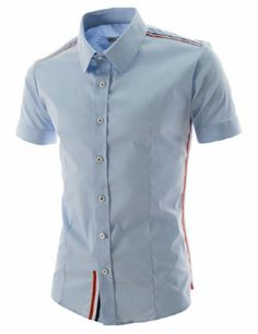 (CES35-SKY) Thelees Mens Slim Fit Stripe Patched Short Sleeve Shirts