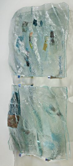 PAM MORRIS   Ocean Wave   WALL SCULPTURE glass   66 x 32 x 10 in