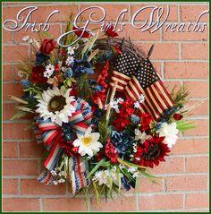 Primitive Americana Patriotic Poppy and Wildflower Wreath by IrishGirlsWreaths on Etsy