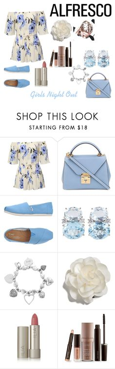 """""""Girls Night Out"""" by hellochloe19 on Polyvore featuring Mark Cross, TOMS, Christina Addison, ChloBo, Cara, Ilia and Laura Mercier"""