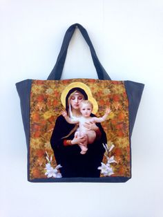 Virgin Mary Mother and Child Tote by didyoumakeityourself on Etsy