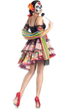 Women's Day of the Dead Costume Day Of The Dead Party, Day Of The Dead Skull, Day Of The Dead Woman, Halloween Jewelry, Halloween Accessories, Joker Costume, Costume Dress, Halloween 2015, Family Halloween Costumes