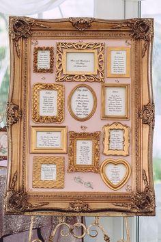 Gold framed seating chart for vintage style wedding @myweddingdotcom