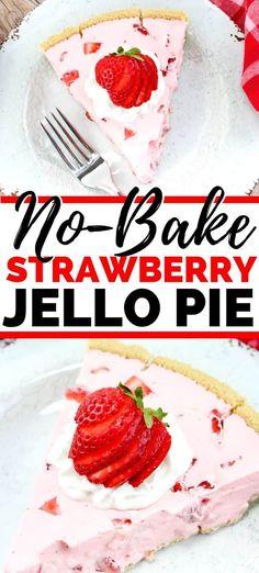 This delicious no-bake strawberry Jello pie recipe is easy to make using a ready. This delicious no-bake strawberry Jello pie recipe is easy to make using a ready-to-use graham cracker crust, Cool Whip, fresh strawberries, and Strawberry Jell-O. Winter Desserts, Köstliche Desserts, Dessert Recipes, Slow Cooker Desserts, Graham Crackers, Graham Cracker Crust, Easy Pie Recipes, Jello Recipes, Tarte Au Jello