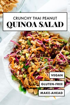 This Thai-flavored quinoa salad recipe is COLORFUL crisp and delicious! It's also vegan and gluten free. It's made with carrots cabbage snow peas and quinoa tossed in a delicious peanut sauce. It packs great for lunch! Quinoa Salad Recipes, Vegetarian Recipes, Healthy Recipes, Thai Peanut Chicken Salad Recipe, Meals With Quinoa, Fish Recipes, Gluten Free Quinoa Salad, Vegan Cabbage Recipes, Thai Peanut Salad