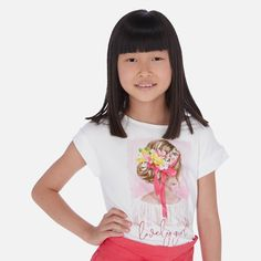 Short sleeved t-shirt for girl. Made from soft elasticated cotton fabric. Decorative elements: design on the front, imitation rhinestones. Shirts For Girls, Print Design, Cotton Fabric, Crop Tops, T Shirt, Women, Fashion, Cropped Tops, Tee