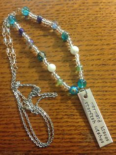 Mermaid Wishes Hand Stamped Necklace by TellMeHowJewelry on Etsy Fun Stuff, Stuff To Do, Mermaid Kisses, Hand Stamped Necklace, Glass Beads, Handmade Jewelry, Beaded Bracelets, Chain, Etsy