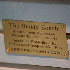Sunset Elementary School Buddy Bench - Christian's Buddy ...