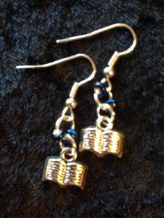Blue Open Book Earrings by CraftyOlBats on Etsy