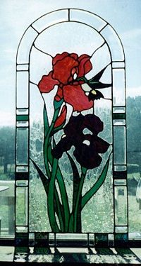 Stained Glass Flower Art Red and Blue Iris created by Butterfly Trader.
