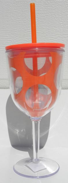 Large Dot Acrylic Wine Glass with Lid & Straw: Perfect for Beach and Outdoor Fun {Pink Azalea}