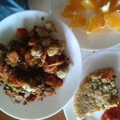 Artichokes, carrot, lentils and young garlic with paprika. Vegan vegetable omelette. Orange